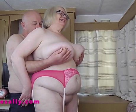 Big tits Granny in stockings and suspenders