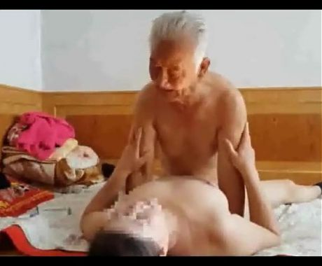 Asian chinese dirty grandpa fuck young granny