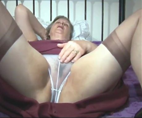 Granny in red silt and white transparent panty
