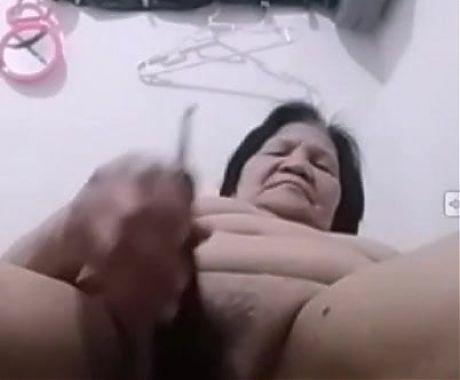 My 67yo Filipina granny gf uses an eggplant as a dildo, part 3
