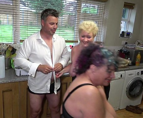 Joolz and Kim with the kitchen fitter