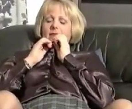 Blonde Granny Showing Off Her Body