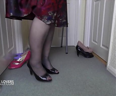 Sally tries on some of her shoes